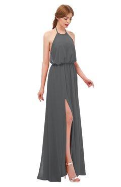 ColsBM Jackie Grey Bridesmaid Dresses Casual Floor Length Halter Split-Front Sleeveless Backless