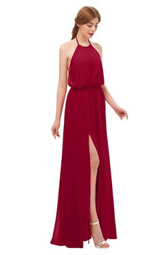 ColsBM Jackie Maroon Bridesmaid Dresses Casual Floor Length Halter Split-Front Sleeveless Backless