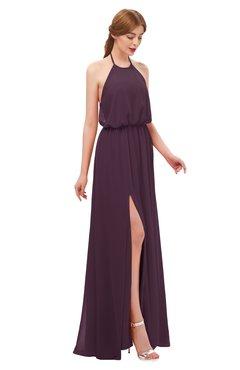 ColsBM Jackie Plum Bridesmaid Dresses Casual Floor Length Halter Split-Front Sleeveless Backless