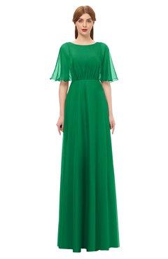 09623be1efc4 ColsBM Ricki Green Bridesmaid Dresses Floor Length Zipper Elbow Length  Sleeve Glamorous Pleated Jewel