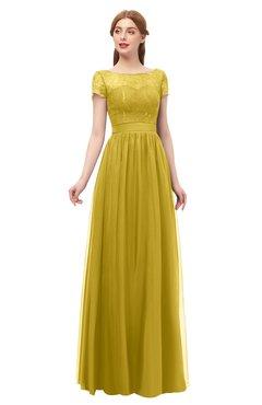 ColsBM Ellery Sauterne Bridesmaid Dresses A-line Half Backless Elegant Floor Length Short Sleeve Bateau
