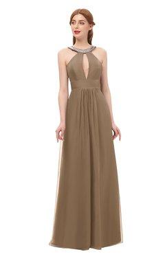 d17f869883 ColsBM Jayda Beaver Fur Bridesmaid Dresses Zipper Halter Glamorous  Sleeveless Crystals Floor Length