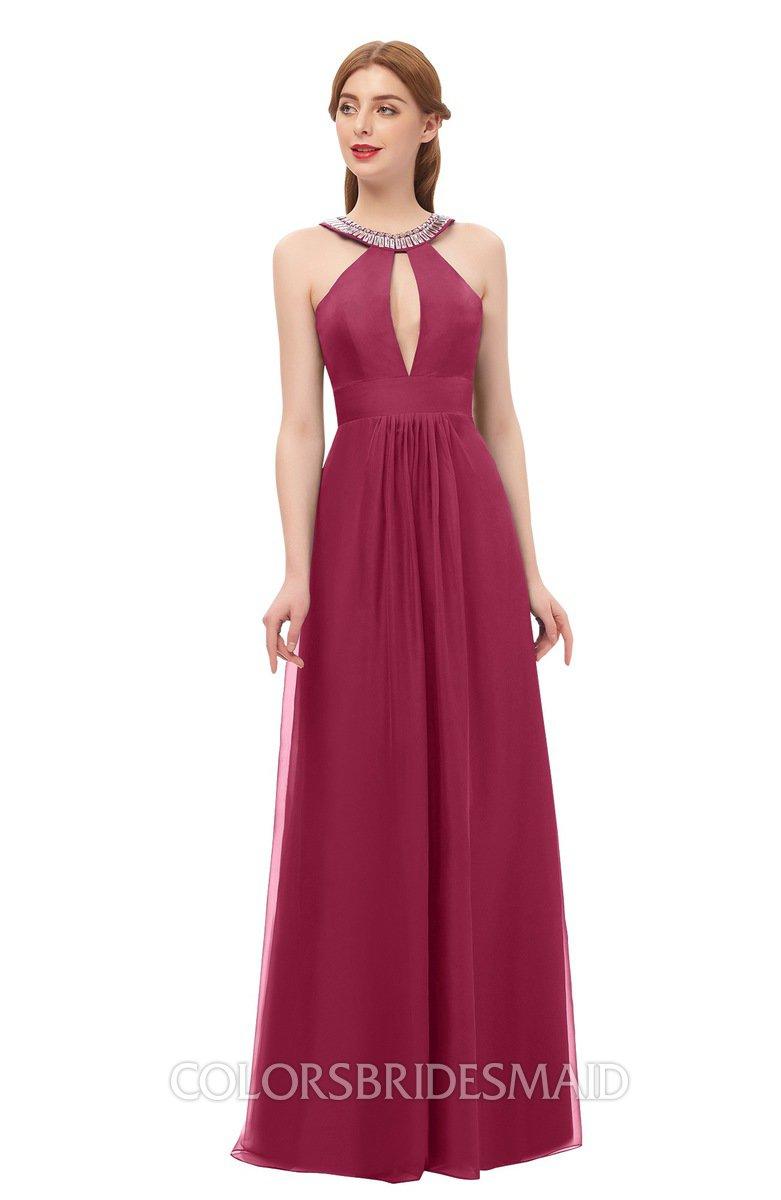 Jayda Burgundy Bridesmaid Dress Zipper Halter Glamorous Sleeveless Crystals Floor Length