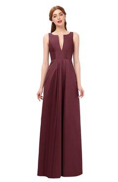 ColsBM Jayla Cabernet Bridesmaid Dresses Sleeveless Sexy Zipper V-neck Floor Length Pleated