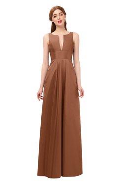 ColsBM Jayla Cinnamon Bridesmaid Dresses Sleeveless Sexy Zipper V-neck Floor Length Pleated