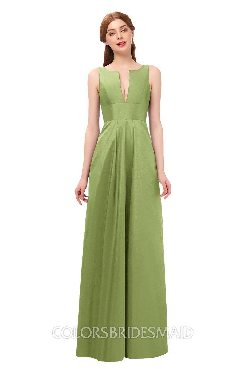 4ecab08125a ColsBM Jayla Leaf Green Bridesmaid Dresses Sleeveless Sexy Zipper V-neck  Floor Length Pleated