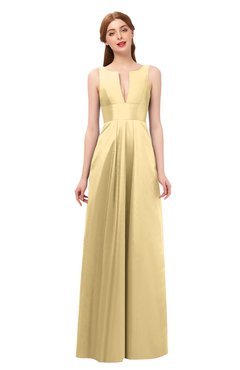975b536bd7b ColsBM Jayla Light Yellow Bridesmaid Dresses Sleeveless Sexy Zipper V-neck  Floor Length Pleated