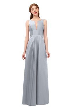 ColsBM Jayla Silver Bridesmaid Dresses Sleeveless Sexy Zipper V-neck Floor Length Pleated