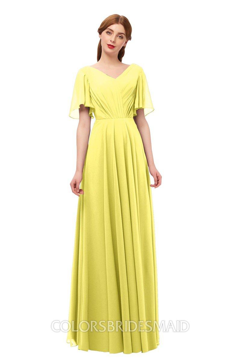 4b30ca9cb2 ColsBM Storm Yellow Iris Bridesmaid Dresses Lace up V-neck Short Sleeve  Floor Length A
