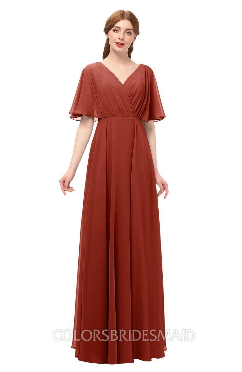 0d928015abc37 ColsBM Allyn Rust Bridesmaid Dresses A-line Short Sleeve Floor Length Sexy Zip  up Pleated