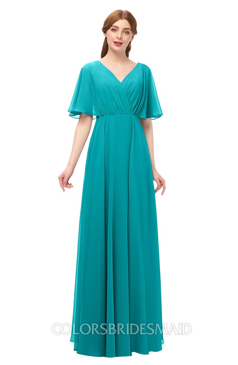 f155a758a43 ColsBM Allyn Teal Bridesmaid Dresses A-line Short Sleeve Floor Length Sexy  Zip up Pleated
