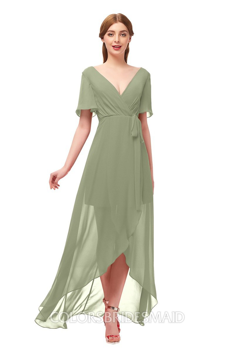 8ecc415bb9c3 ColsBM Taegan Bog Bridesmaid Dresses Hi-Lo Ribbon Short Sleeve V-neck  Modern A
