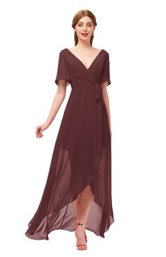ColsBM Taegan Burgundy Bridesmaid Dresses Hi-Lo Ribbon Short Sleeve V-neck Modern A-line