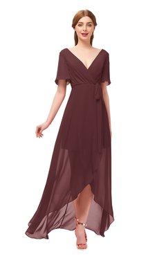 ColsBM Taegan Bridesmaid Dresses Hi-Lo Ribbon Short Sleeve V-neck Modern A-line