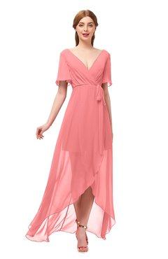 bcd074741e8 ColsBM Taegan Coral Bridesmaid Dresses Hi-Lo Ribbon Short Sleeve V-neck  Modern A