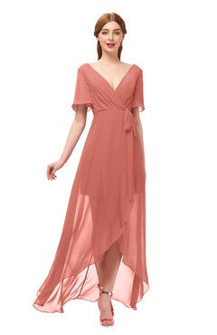 ColsBM Taegan Crabapple Bridesmaid Dresses Hi-Lo Ribbon Short Sleeve V-neck Modern A-line