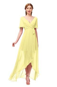ColsBM Taegan Daffodil Bridesmaid Dresses Hi-Lo Ribbon Short Sleeve V-neck Modern A-line