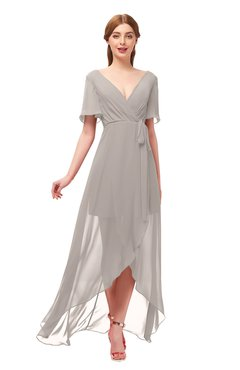 ColsBM Taegan Fawn Bridesmaid Dresses Hi-Lo Ribbon Short Sleeve V-neck Modern A-line