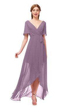 3f3fd0764e0a ColsBM Taegan Mauve Bridesmaid Dresses Hi-Lo Ribbon Short Sleeve V-neck  Modern A