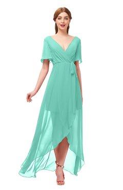 2bc1cc609647 ColsBM Taegan Mint Green Bridesmaid Dresses Hi-Lo Ribbon Short Sleeve V-neck  Modern