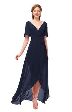 ColsBM Taegan Peacoat Bridesmaid Dresses Hi-Lo Ribbon Short Sleeve V-neck Modern A-line