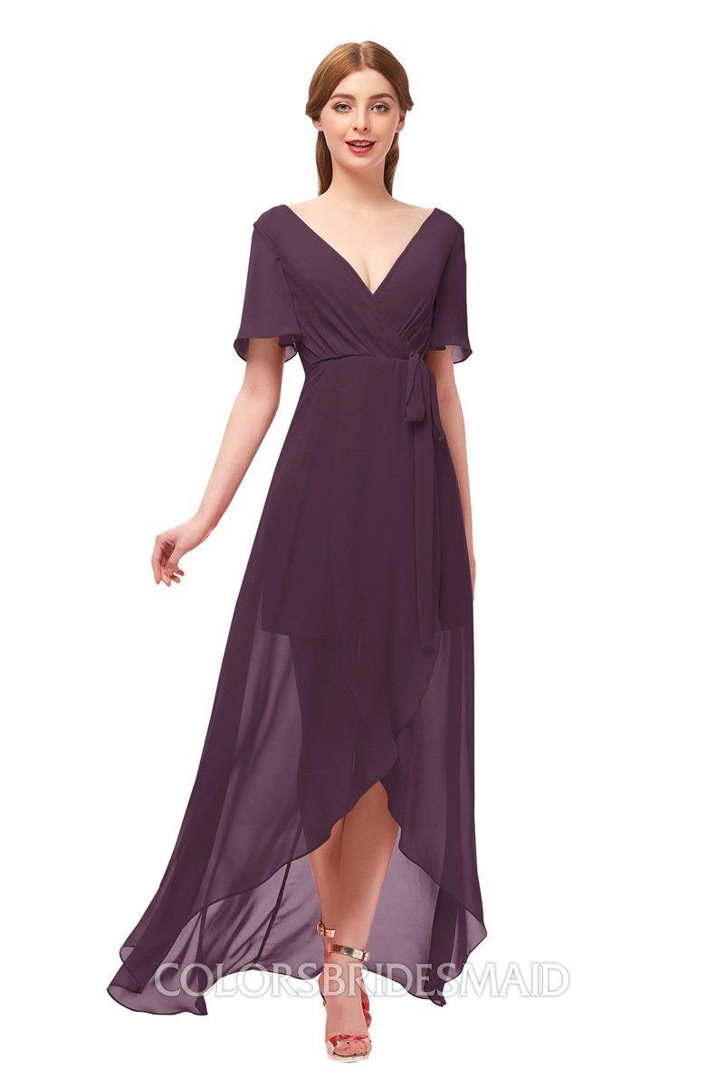 0fb3762e2d07 ColsBM Taegan Plum Bridesmaid Dresses Hi-Lo Ribbon Short Sleeve V-neck  Modern A