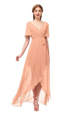 ColsBM Taegan Salmon Bridesmaid Dresses Hi-Lo Ribbon Short Sleeve V-neck Modern A-line