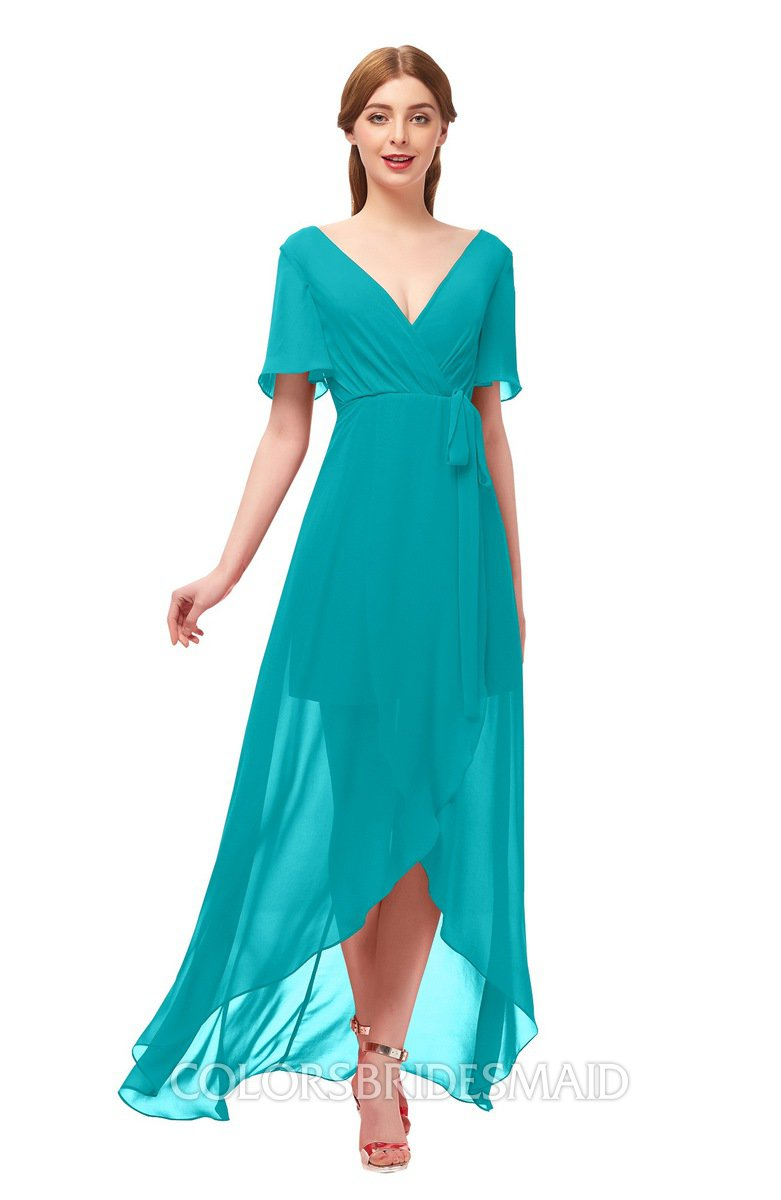 c04978d35e0 ColsBM Taegan Teal Bridesmaid Dresses Hi-Lo Ribbon Short Sleeve V-neck  Modern A