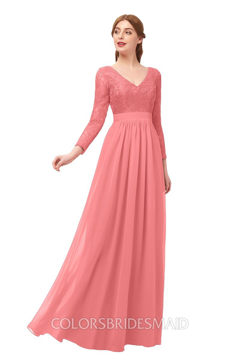 1690875fe504 Long Coral Bridesmaid Dresses - raveitsafe
