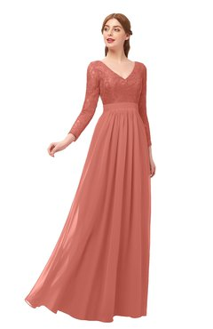 ColsBM Cyan Crabapple Bridesmaid Dresses Sexy A-line Long Sleeve V-neck Backless Floor Length