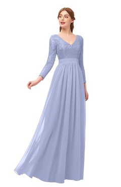 ColsBM Cyan Lavender Bridesmaid Dresses Sexy A-line Long Sleeve V-neck Backless Floor Length