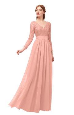 20b4cc50ba ColsBM Cyan Peach Bridesmaid Dresses Sexy A-line Long Sleeve V-neck  Backless Floor
