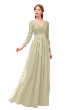 ColsBM Cyan Putty Bridesmaid Dresses Sexy A-line Long Sleeve V-neck Backless Floor Length