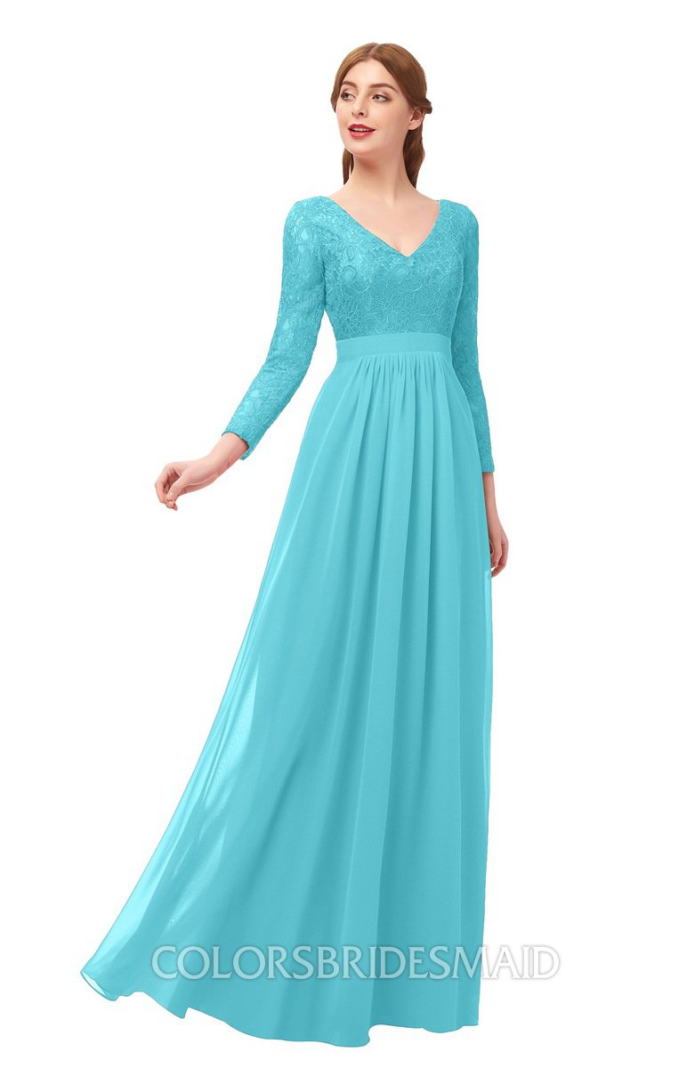 265a8b3ff0a6 ColsBM Cyan Turquoise Bridesmaid Dresses Sexy A-line Long Sleeve V-neck  Backless Floor