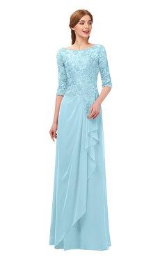 6a30df0d2e7 ColsBM Jody Aqua Bridesmaid Dresses Elbow Length Sleeve Simple A-line Floor  Length Zipper Lace
