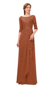 4743e8076f2d ColsBM Jody Bombay Brown Bridesmaid Dresses Elbow Length Sleeve Simple  A-line Floor Length Zipper