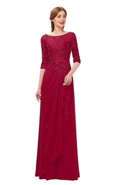 fcf1f5929daf ColsBM Jody Dark Red Bridesmaid Dresses Elbow Length Sleeve Simple A-line  Floor Length Zipper