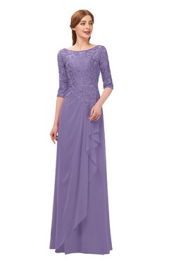 ColsBM Jody Lilac Bridesmaid Dresses Elbow Length Sleeve Simple A-line Floor Length Zipper Lace