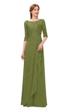 5c2a8c137354 ColsBM Jody Olive Green Bridesmaid Dresses Elbow Length Sleeve Simple  A-line Floor Length Zipper