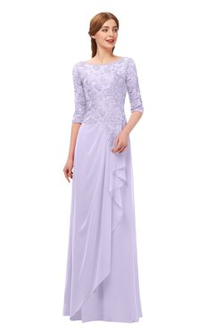 ColsBM Jody Pastel Lilac Bridesmaid Dresses Elbow Length Sleeve Simple A-line Floor Length Zipper Lace
