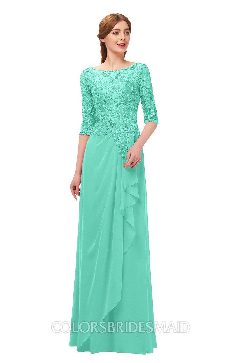 d5138930363 ColsBM Jody Seafoam Green Bridesmaid Dresses Elbow Length Sleeve Simple A-line  Floor Length Zipper