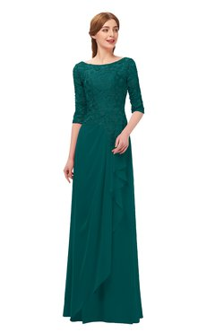 ColsBM Jody Shaded Spruce Bridesmaid Dresses Elbow Length Sleeve Simple A-line Floor Length Zipper Lace