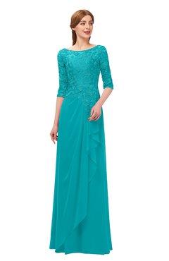 4200bbde71 ColsBM Jody Teal Bridesmaid Dresses Elbow Length Sleeve Simple A-line Floor  Length Zipper Lace