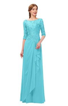 fc636e8bbd5b7 ColsBM Jody Turquoise Bridesmaid Dresses Elbow Length Sleeve Simple A-line  Floor Length Zipper Lace