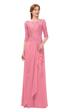 ColsBM Jody Watermelon Bridesmaid Dresses Elbow Length Sleeve Simple A-line Floor Length Zipper Lace