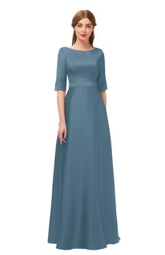 ColsBM Silver Bluestone Bridesmaid Dresses Mature Floor Length Boat Zip up Sash A-line