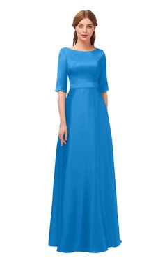 722c0ee6c11 ColsBM Silver French Blue Bridesmaid Dresses Mature Floor Length Boat Zip  up Sash A-line