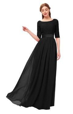 ColsBM Payton Black Bridesmaid Dresses Sash A-line Modest Bateau Half Length Sleeve Zip up