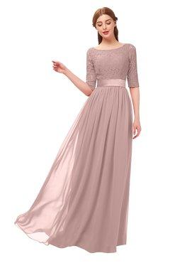 ColsBM Payton Blush Pink Bridesmaid Dresses Sash A-line Modest Bateau Half Length Sleeve Zip up