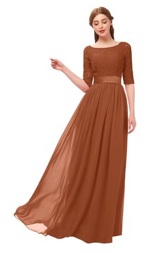 1f2446c81abd ColsBM Payton Bombay Brown Bridesmaid Dresses Sash A-line Modest Bateau Half  Length Sleeve Zip